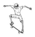 vintage skeleton skateboarder vector image