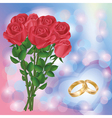 Wedding greeting or invitation card with red roses vector image vector image