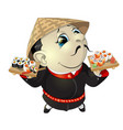 sushi chef at the restaurant vector image