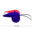A Beautiful Whistle of Saint Martin Flag vector image