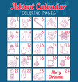 advent calendar with christmas coloring pages vector image