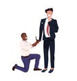 african american man kneeling holding engagement vector image vector image