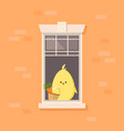 apartment window with bachick holding a basket vector image vector image