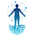 athletic man created with mesh wireframe vector image vector image