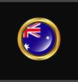 australia flag golden button vector image