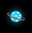 blue planet with rainbow rings vector image vector image