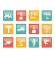 building and construction equipment icons vector image