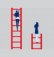 business person watching leader climb on ladder vector image vector image