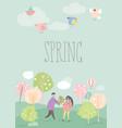 cartoon happy couple in love in spring garden vector image vector image
