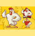 chicken mascot for food business with optional vector image vector image