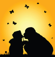 child kissing with dad silhouette vector image vector image