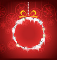 christmas greeting card with christmas bauble vector image vector image
