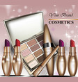 colorful cosmetics realistick lipstick and vector image vector image
