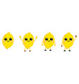 cute kawaii style lemon fruit icon large eyes vector image