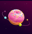 donut planet fantasy space vector image vector image