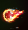 england flag with flying soccer ball on fire vector image vector image