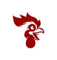 fun red cartoon rooster head vector image vector image