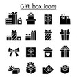 gift box icon set in flat style vector image vector image