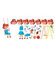 girl kindergarten kid animation creation vector image