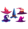 halloween witch hats headwear with belts and bats vector image