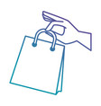 hand with shopping bag isolated icon vector image vector image