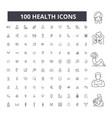 health editable line icons 100 set vector image vector image