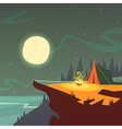 Hiking At Night Background vector image