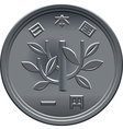 japanese coin one yen vector image vector image