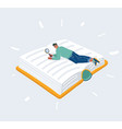 man lay on big giant book vector image vector image