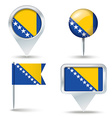 Map pins with flag of Bosnia and Herzegovina vector image vector image