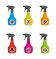 Pest control Set of multicolored spray vector image