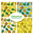 Pineapple colored doodle seamless pattern vector image vector image