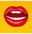 pretty female lips in retro pop art style vector image vector image