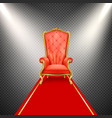realistic throne chair with red carpet vector image
