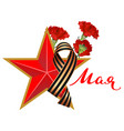 red carnations and star symbol of russian victory vector image vector image