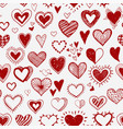seamless background with red doodle sketch hearts vector image vector image