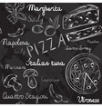 Seamless Pizza Blackboard Pattern vector image