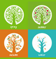 set apple trees in circle in different vector image