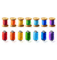 set of colored thread spools for sewing vector image vector image