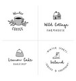 set of logotypes with hand drawn icons winter vector image