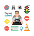 set of road symbols and driver character vector image vector image