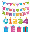 set party decorations icons vector image