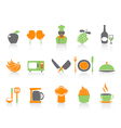 simple color kitchen icons set vector image vector image