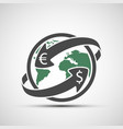 simple icon earth planet with arrows money vector image