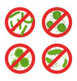 stop bacteria sign set vector image
