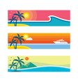 summer travel - set of horizontal concept banner vector image vector image