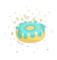 sweet yellow donut cartoon icon with colorful vector image vector image