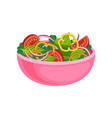 tasty vegetable salad in pink ceramic bowl vector image