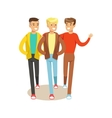 Three Happy Best Friends Going Out Part Of vector image vector image