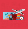 travel around the world set icons vector image vector image